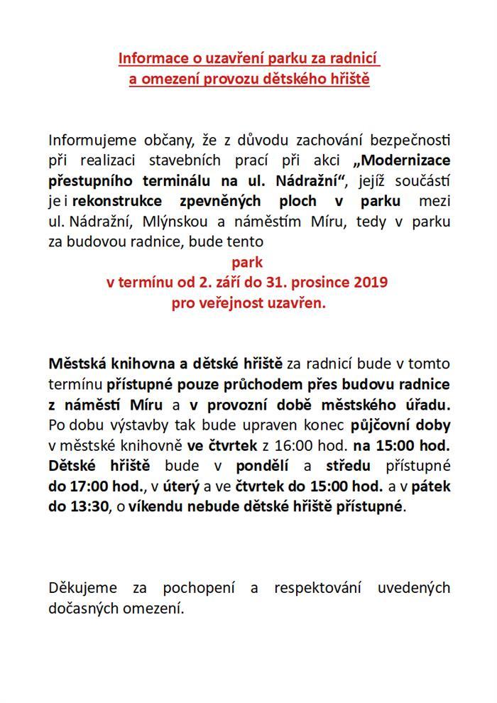 Uzavření parku 2.9.2019 2